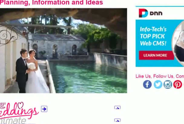 allow a banner ad and article on a USA wedding website