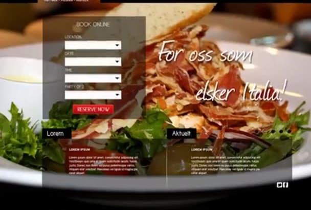 design an eye catching Restaurant Website in Photoshop