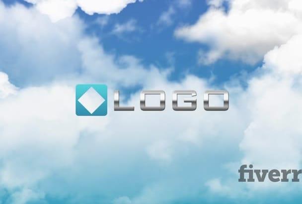 do Jet Plane Fly through Sky Clouds Logo Reveal Intro Opener