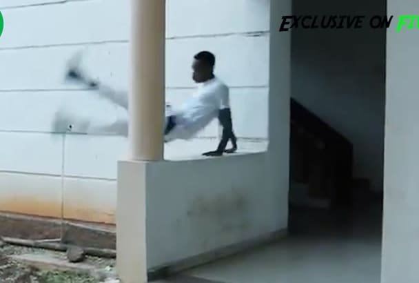 do amazing parkour stunts with your logo