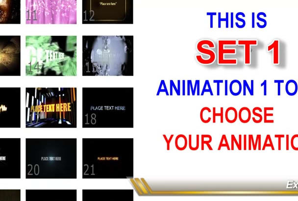 create Text Title Intros from 100 Animations to choose from
