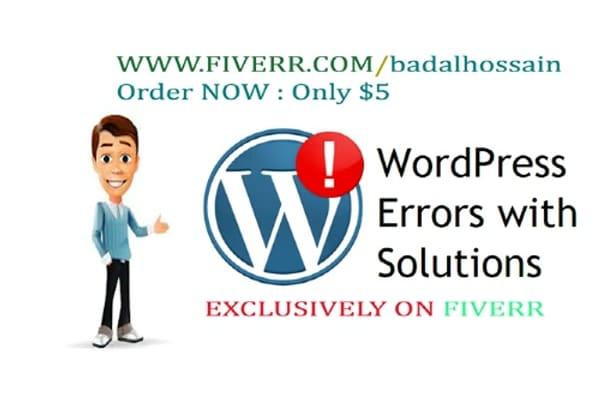 fixing wordpress errors and create website