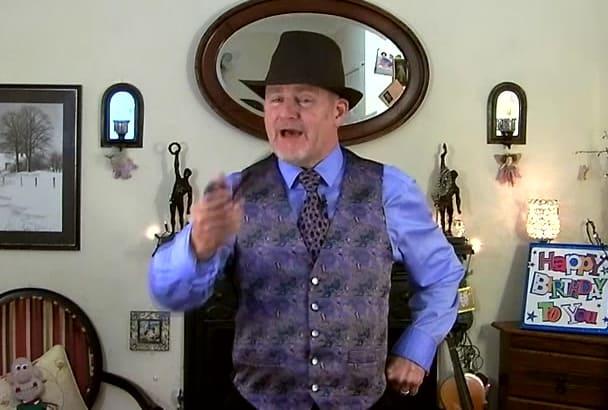 sing Happy birthday as Sir Nigel Spiffington
