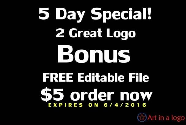 design 2 great logo bonus free editable file