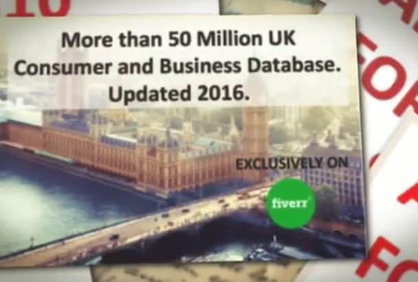 deliver 50 Million UK Consumer and Business Database