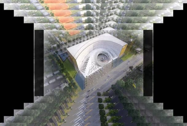 model, rendering floor plan, exterior, interior, landscape