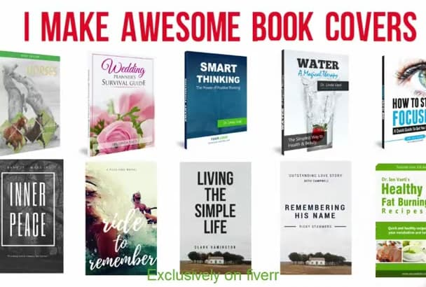 create 2D, 3D awesome book or kindle cover in 24 hours
