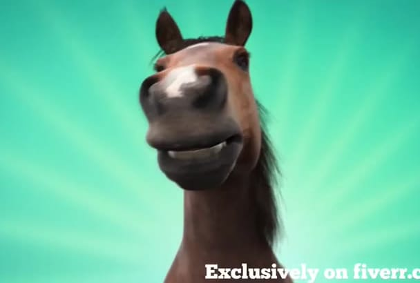 reveal your logo with the tongue of a Funny Horse