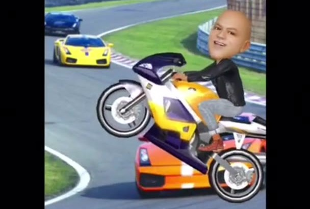 do your face in video 3D cartoon animated style MOTORCYCLE