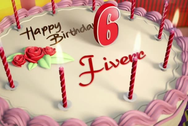create this exact happy birthday video with cake having name, age, sender name