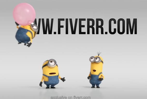 create a funny 3d animation with minions balloon