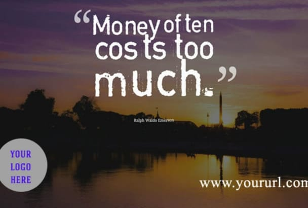 create 111 best MONEY quote graphics with url and Logo