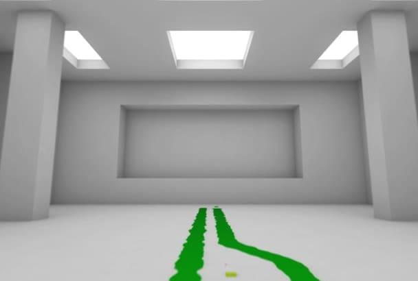 do colorful moving stroke over wall in 3D intro