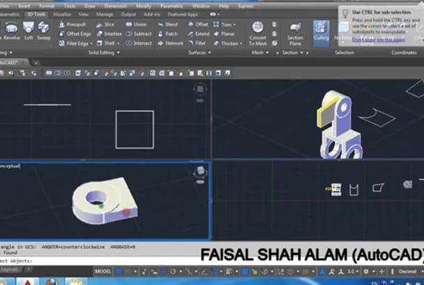 convert 2D and 3D drawing in AutoCAD,3D Model and modeling