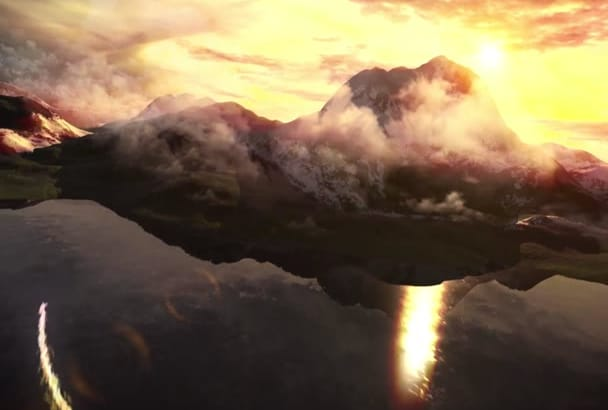 make a Sky and Mountains Logo 3D animated video