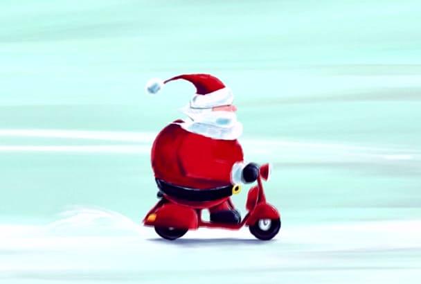 create this traditional Christmas greeting animation