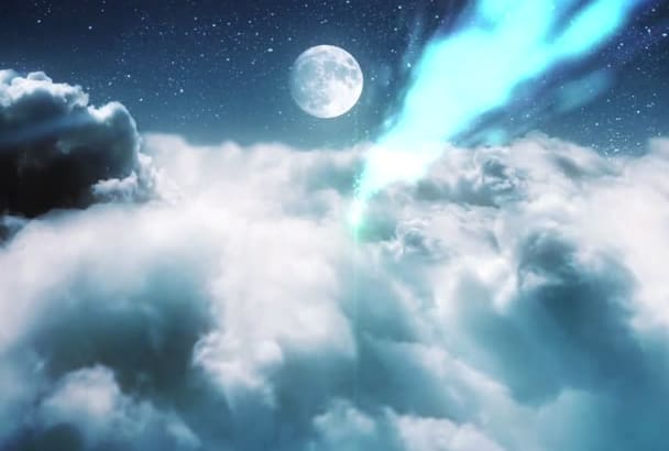 make a intro with clouds in a night sky