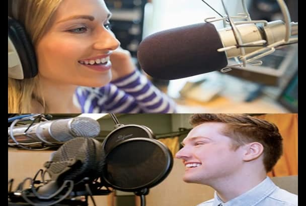 record male and female voice over in American or British accent in 24 hr