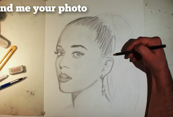 draw you a realistic pencil portrait in speed drawing