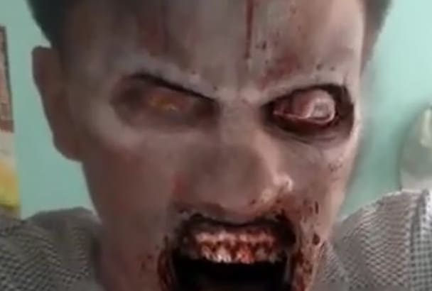 turn your face into  zombie video