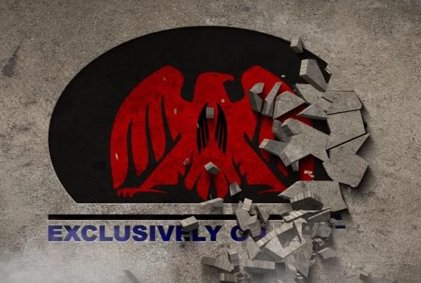 create concrete crumble wall text logo reveal intro