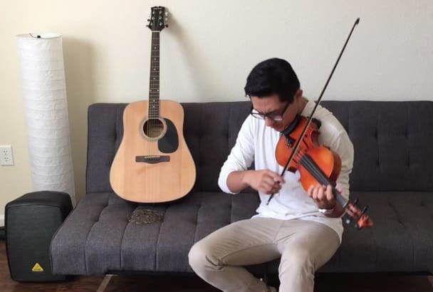 record a video playing a song with my violin