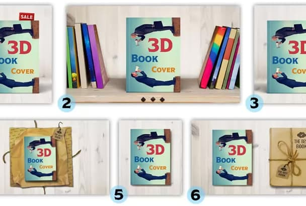 create 3d book cover mockup in 6 different styles