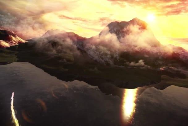 create Sky Mountain Sunset Intro