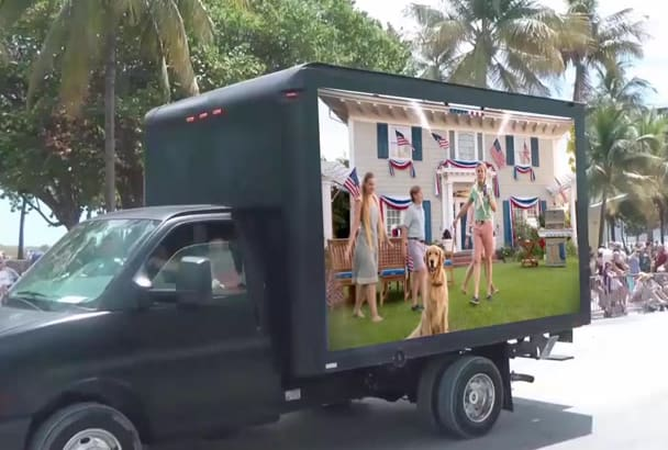 advertise Your Brand Or Video On Truck In People Crowd