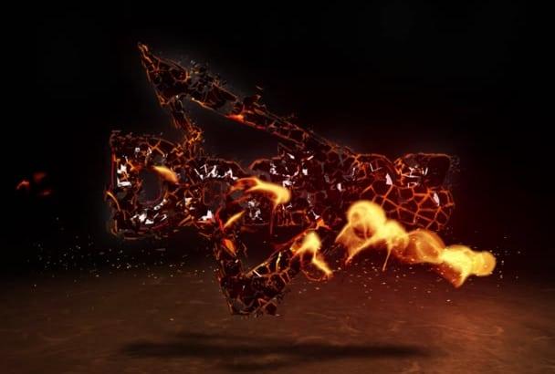 make incredible fire burning video intro logo animation HD