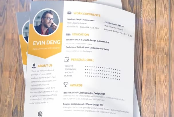 design your CV, curriculum vitae, resume that will Stand out