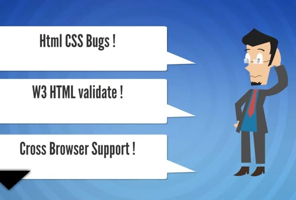 fix any html css bugs or issues within 5 Hours