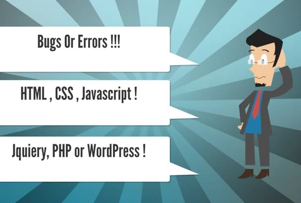 fix your html, css, wordpress, php bugs and issues within 24 hours