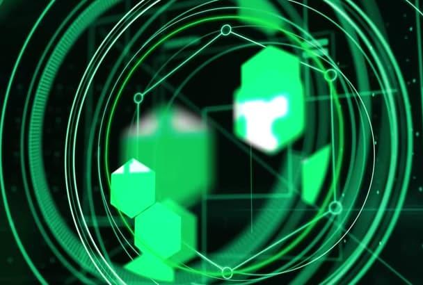 do futuristic digital tech hud logo intro