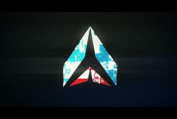 create glitchy  logo intro video