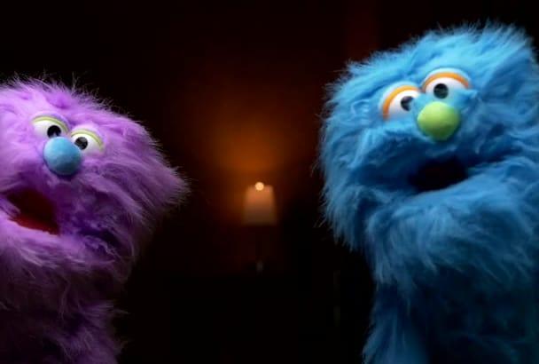 make funny monster puppet video