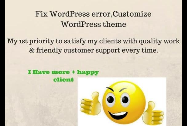 fix wordpress error,customize wordpress theme