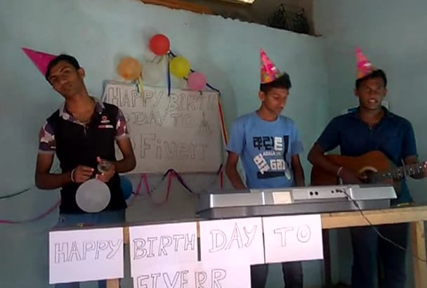 sing happy birthday song as funny with my friends