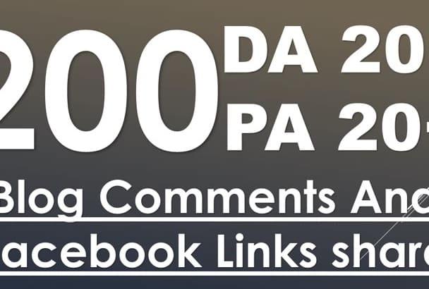 200 dofollow Blog Comments high da pa