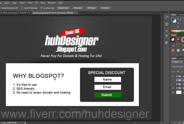 design landing or squeeze page using Blogspot