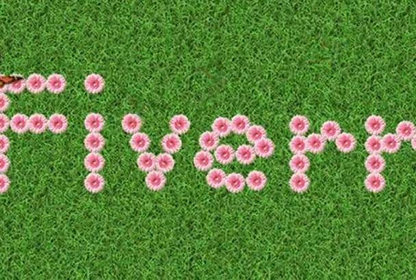 write any word with flowers on a grass with animated butterfly