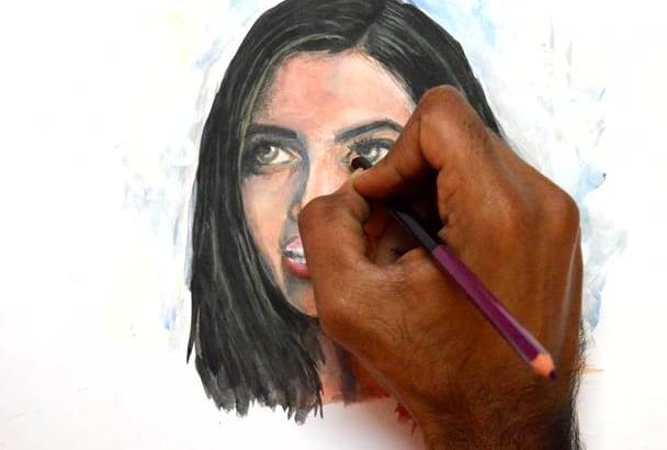 create speed paint video of a portrait