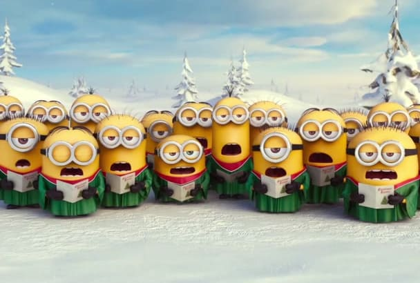 make funny Minions Christmas intro with your logo
