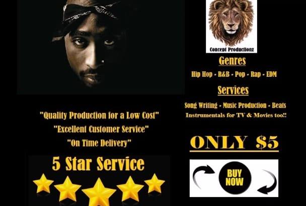 create exclusive rap and rnb tracks or lyrics