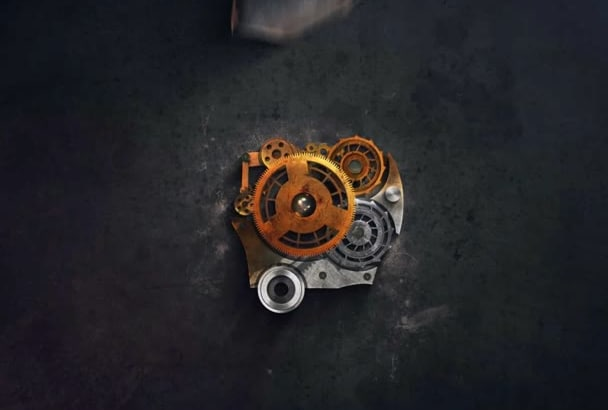 create this simple dirty mechanism LOGO intro