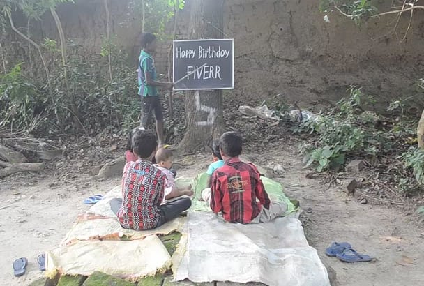give a video my boys read wish you happy birthday message in open sky school