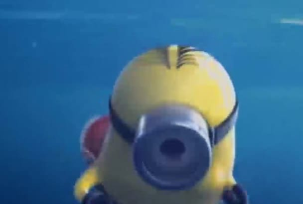 make Funny Minion SWIMMING and reveal your logo