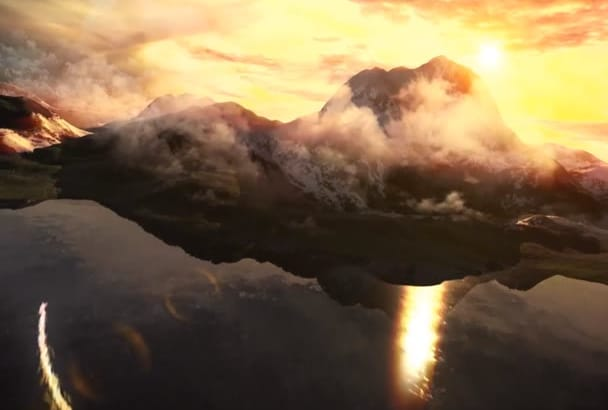 make an Amazing Sunrise on Mountain Sky Logo reveal video