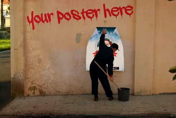 put your poster or photo in street graffiti style
