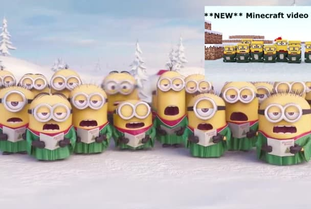 create CHRISTMAS Minions video animation for logo